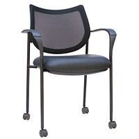 TygerClaw Guest Chair, Mid-Back, Black, Mesh/Fabric