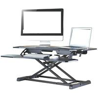 TygerClaw Sit-Stand Desktop Workstation, Black