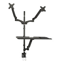 TygerClaw Sit-Stand Workstation, Double Arm, Black