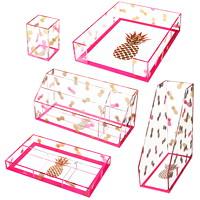 Deflecto Desklarity 5-Piece Desk Set, Pink/Gold