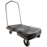 Rubbermaid Commercial Triple Trolley With User Friendly Handle, Black, 5