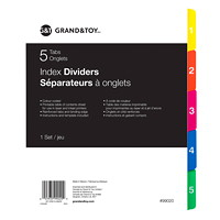 Grand & Toy Index Dividers, Numbered 1-5, 8 1/2