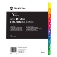 Intercalaires à onglets Grand & Toy, numérotés de 1 à 10, 81/2po x 11po, jeu de 10 onglets, emballage de 1 jeu