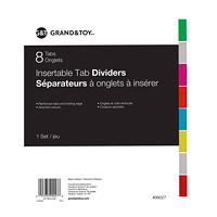 Grand & Toy Insertable Tab Index Dividers, Buff With Coloured Tabs, Letter-Size, 8-Tabs/ST, 1-Set/PK