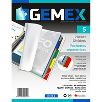 Gemex Pocket Divider Tabs, Ultra Clear/Coloured Tabs, Letter Size, 5/PK