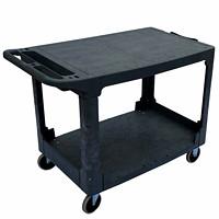Chariot utilitaire ultrarésistant avec tablette à surface plane Globe Commercial Products, noir, capacité de 550lb