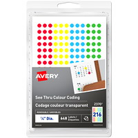 Avery 2369 See-Thru Removable Colour-Coding Labels, Assorted Colours, 1/4