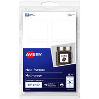 Avery 2374 Multi-Use Removable Print- and Write-On Labels, White, 1 1/2