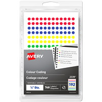Avery 2339 Non-Printable Removable Colour-Coding Labels, Assorted Colours, 1/4