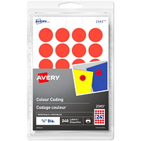 Avery 2343 Non-Printable Removable Colour-Coding Labels, Red, 3/4