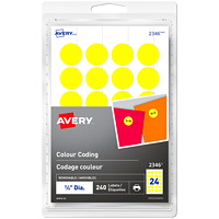 Avery 2346 Non-Printable Removable Colour-Coding Labels, Yellow, 3/4