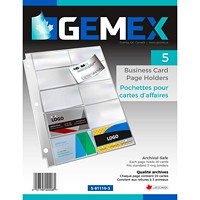 Gemex Business Card Holders, Ultra-Clear, Letter Size, 50/BX