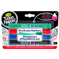 Crayola Take Note Dry-Erase Markers, Assorted Colours, Chisel Tip, 4/PK