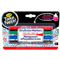 Crayola Take Note Dry-Erase Markers, Assorted, Fine Tip, 4/PK