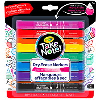 Crayola Take Note Dry-Erase Markers, Assorted Colours, Chisel Tip, 12/PK