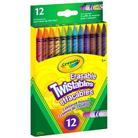 Crayola Twistables Erasable Coloured Pencils, Assorted Colours, 12/PK