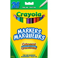 Crayola Fine Line Markers, Assorted Colours, 24/PK