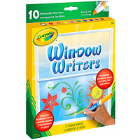 Crayola Washable Window Writers Markers, Assorted Colours, 10/PK
