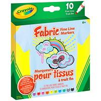 Marqueurs pour tissus Crayola, couleurs variées, pointe fine, emb. de 10