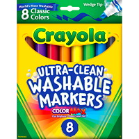 Crayola Ultra-Clean Washable Markers, Assorted Colours, Wedge Tip, 8/PK