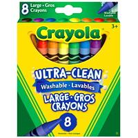 Gros crayons de cire lavables Ultra-Clean Crayola, couleurs variées, emb. de 8