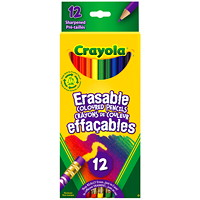 Crayola Erasable Coloured Pencils, Assorted Colours, 12/PK
