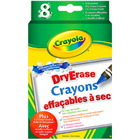 Crayola Dry-Erase Washable Crayons, Assorted Colours, 8/PK