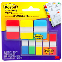 Post-it Flags and Tabs Combo Pack, Assorted Colours and Sizes, 136 Flags