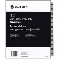 Grand & Toy Poly Tab Dividers, White with Black, Monthly (Jan-Dec), 12-Tabs/ST, 1-ST/PK