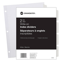 Grand & Toy Write-On Index Dividers, White, 8 1/2