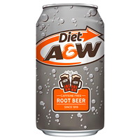 A&W Root Beer Soft Drinks, Diet, 355 mL, 12/CT
