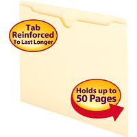 Pochettes de classement avec onglet droit renforcé Smead, manille, format lettre, boîte de 100