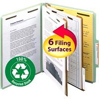 Chemises de classement à deux intercalaires en carton comprimé Smead, gris et vert, format lettre, boîte de 10