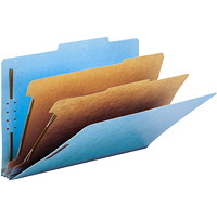 Chemises de classement à deux intercalaires en carton comprimé Smead, bleu, format légal, boîte de 10