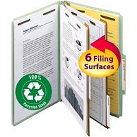 Chemises de classement à deux intercalaires en carton comprimé Smead, gris et vert, format légal, boîte de 10