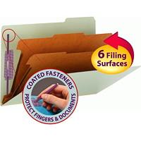 Chemises de classement à deux intercalaires en carton comprimé avec attaches SafeSHIELD Smead, gris et vert, extension de 2po, format légal, boîte de 10
