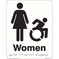 Safety Media Braille/Tactile Washroom Sign, Women Accessible, 6