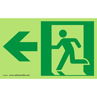 Safety Media Running Man Photoluminescent (Glow-In-The-Dark) Exit Sign, Left Arrow, Green on White