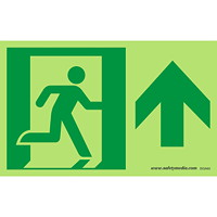 Safety Media Running Man Photoluminescent (Glow-In-The-Dark) Exit Sign, Arrow Up, Green on White