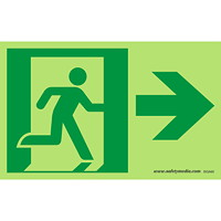 Safety Media Running Man Photoluminescent (Glow-In-The-Dark) Exit Sign, Right Arrow, Green on White