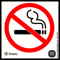 Safety Media Province of Ontario No Smoking Plastic Sign, White, 3.9