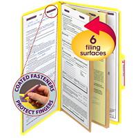 Chemises de classement à deux intercalaires en carton comprimé avec attaches SafeSHIELD Smead, jaune, extension de 2po, format légal, boîte de 10