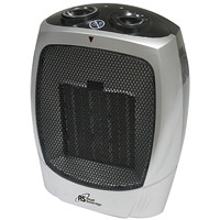 Royal Sovereign Compact Ceramic Heater, 2 Heat Settings, Silver/Grey
