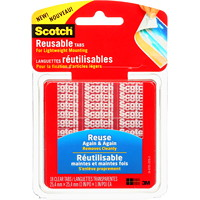 Scotch Restickable Tabs for Lightweight Mounting, Clear, 1