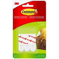 Command Small Poster Strips, White, 1 lb Capacity, 12/PK