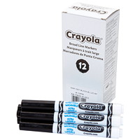 Crayola Ultra-Clean Washable Markers, Black, Broad Tip, 12/PK