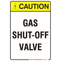 GAS SHUT OFF CAUTION 7X10