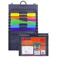 Classeur mural à 6 pochettes en cascade Gen2 Smead, gris et couleurs vives, format lettre