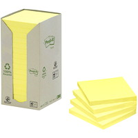 Post-it 100% Recycled Note Tower Packs, Canary Yellow, 3