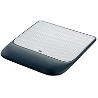 3M Precise Mouse Pad with Wrist Rest, Black/Silver, 8 1/2